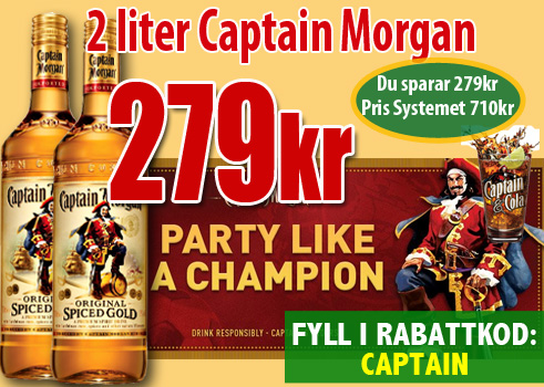 279kr 2liter Captain Morgan
