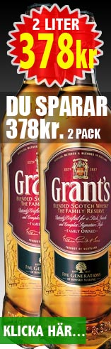378kr 2 liter Grants Whisky - Du sparar 378kr