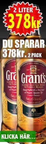 378kr för 2 liter Grants Whisky - Du sparar 378kr