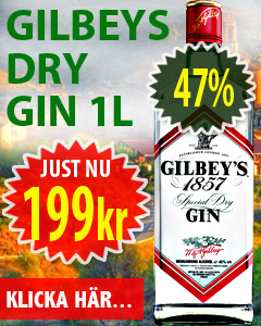 1 L Gilbeys Gin 47% 199kr