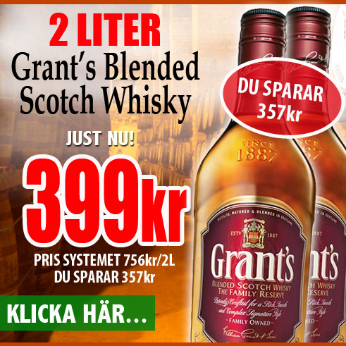 399kr 2 liter Grants Whisky