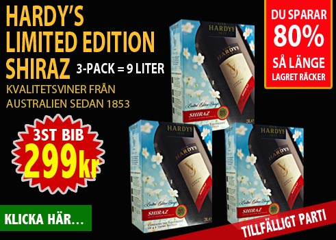 299kr 9 liter Hardys Limited Edition Shiraz