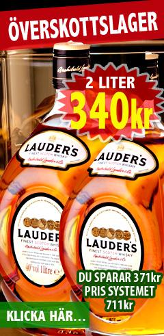 340kr 2 liter Lauder Whisky