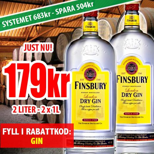 179kr 2 liter Finsbury Dry Gin